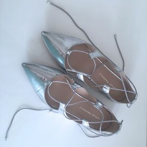 Loeffler Randall Ambra Silver Lace-up Flats
